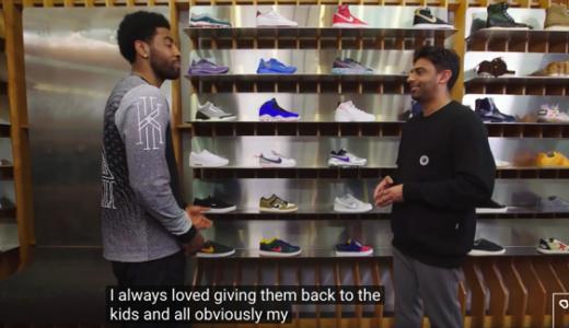 カイリー・アービング(KYRIE IRVING)がスニーカーショップでカイリー5についてや好きなスニーカーについて語っている動画を発見。