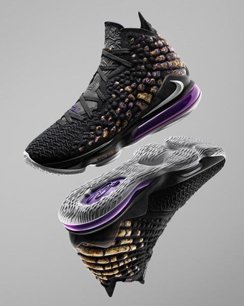 NikeNews HO19 BB LeBron17 Purple Gold Hero 90403