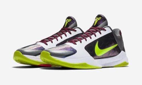 """Nike Kobe(コービー) 5 Protro """"Chaos"""" がホリデーシーズンにリリース予定。ジョーカーを思わせるカラーリング。詳細情報"""