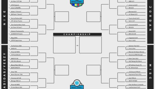 2010年代最高のスニーカーを決めるトーナメントが行われているみたい。